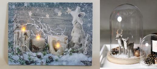 Kerststolp en kerstschilderijen met lichtjes