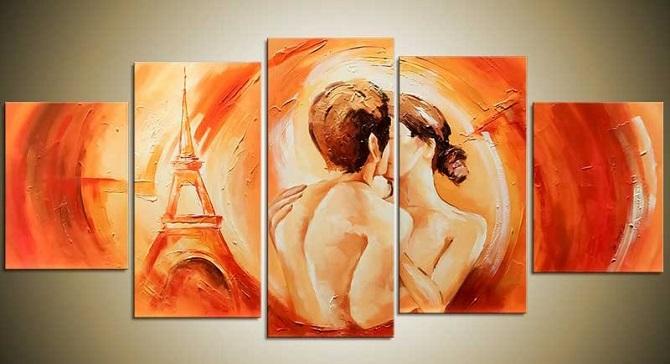 romantisch schilderij in de slaapkamer